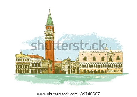 Venice in Italy. The Campanile, the Piazza San Marco (St Mark's Square) and medieval Doge's Palace. - stock photo