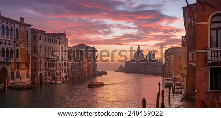 Venice in the early morning. Picture taken from the Academy bridge. Italy.