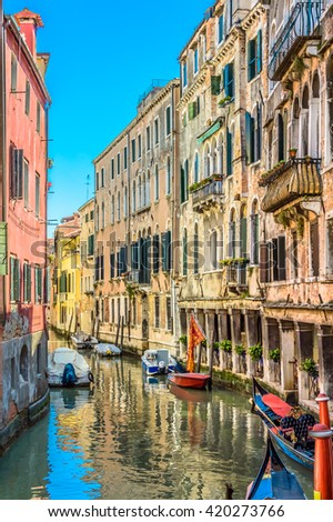 Venice is located on Adriatic sea, one of main touristic city in the world, Italy, Europe. / Water street in Venice, Italy. / Selective focus. - stock photo