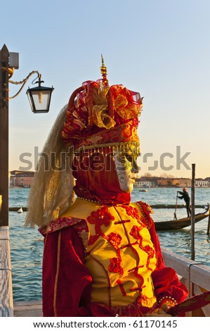 VENICE, IT - FEBRUARY 14: Unidentified disguised woman posing at the Carnival of Venice February 14, 2009 in Venice, IT. - stock photo