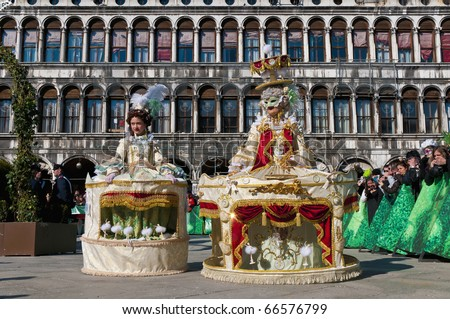 VENICE, IT - FEBRUARY 15: Unidentified disguised women posing at the Carnival of Venice February 15, 2009 in Venice, IT. - stock photo