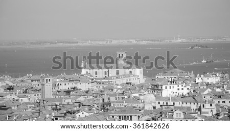 Venice (Italy). A view from above. Aged photo. Black and white.