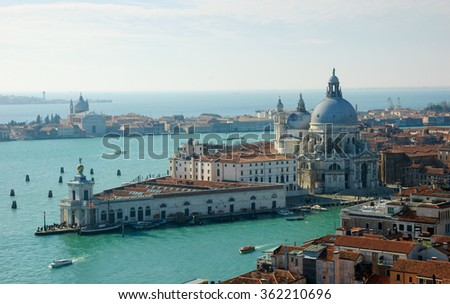 Venice (Italy). A view from above. Santa Maria della Salute domes.
