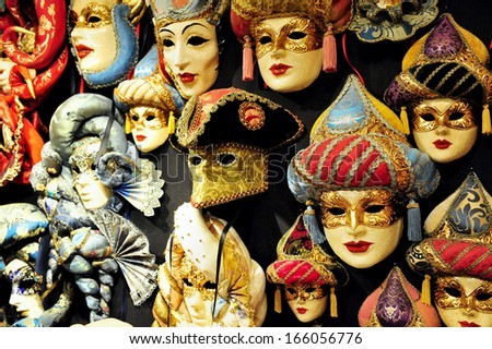 VENICE, ITALY - APR 30 2011:Selection of Venetian carnival masks.Masks were worn in Venice to disguise the wearer from illicit activities:gambling, dancing, affairs or even political assignation. - stock photo
