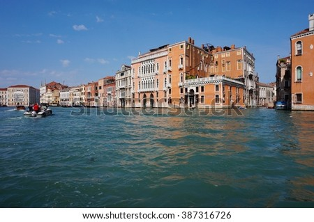 VENICE, ITALY -APRIL 2013- The Grand Canal (Canal Grande) is one of the main traffic corridors in Venice with vaporetti, water taxis, and gondola boats.