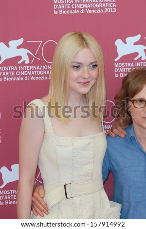 VENICE, ITALY - AUGUST 31: Dakota Fanning attend the 'Night Moves' Photocall during the 70th Venice Film Festival on August 31, 2013 in Venice, Italy  - stock photo