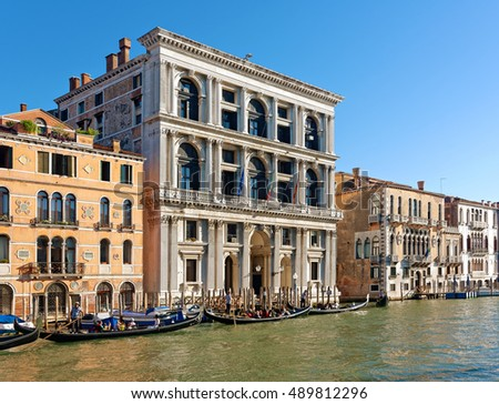 Venice, Italy - August 08, 2016: Grand Canal of Venice at sunny day. The Grand Canal measures two and a half miles long and sixteen feet deep and is anywhere from ninety to three hundred feet.