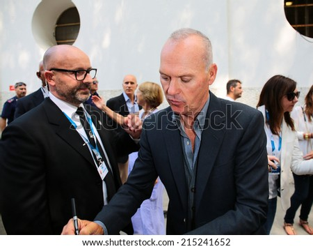 "VENICE, ITALY - AUGUST 27: Michael Keaton arrive at Casina Palace for the photocall of the film "" Birdman "" during the 71th Venice Film Festival 2014 in Venice, Italy"