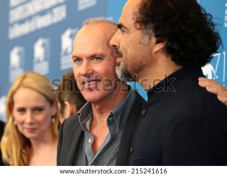 """VENICE, ITALY - AUGUST 27: Michael Keaton during the photocall of the film """" Birdman """" during the 71th Venice Film Festival 2014 in Venice, Italy on August 27, 2014  - stock photo"""