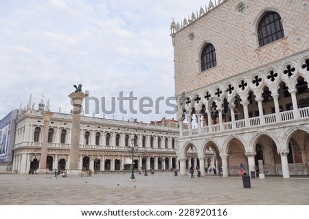 VENICE, ITALY - AUGUST 19, 2014: The Doge Palace in San Marco square in Venice Italy