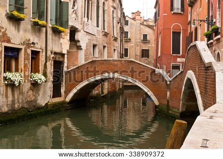 Venice Italy Canal and Walking Bridge