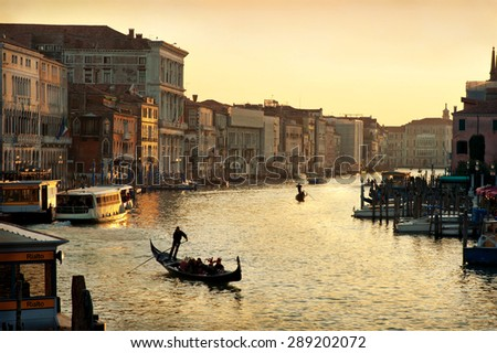 VENICE, ITALY - CIRCA 2011: Evening traffic on Grand Channel in Venice, Italy - stock photo