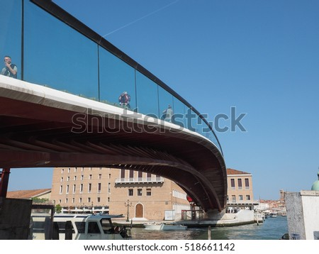 VENICE, ITALY - CIRCA SEPTEMBER 2016: Ponte della Costituzione (meaning Constitution Bridge) over Grand Canal designed by Santiago Calatrava
