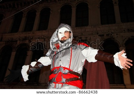 VENICE, ITALY - FEBRUARY 26: Actor dresses up as warrior and greet visitors at the 2011 Venice Carnival celebration event at Saint Mark Square on February 26, 2011 in Venice, Italy.