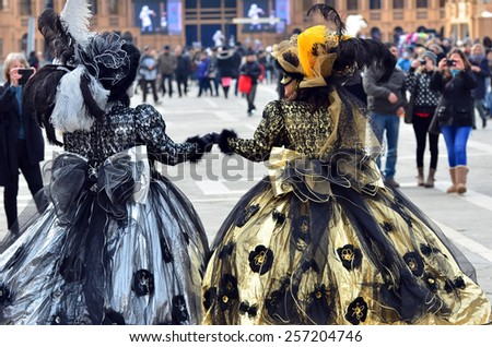 VENICE, ITALY - FEBRUARY 12: Carnival masked costume during the 2015 Venice Carnival:  February  12, 2015 in Venice, Italy - stock photo