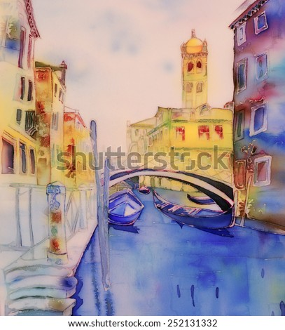 Venice, Italy, gondolas - an original modern batik, painting on silk - stock photo