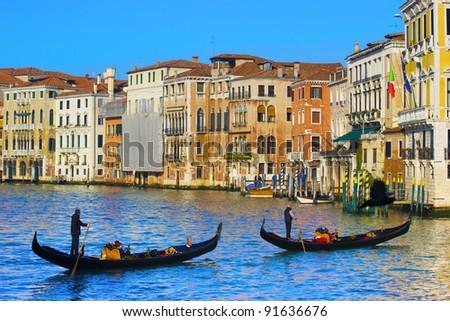 Venice, Italy. Gondolas on the Grand Canal - stock photo