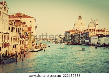 Venice, Italy. Grand Canal and Basilica Santa Maria della Salute in the afternoon. Vintage, retro style. - stock photo
