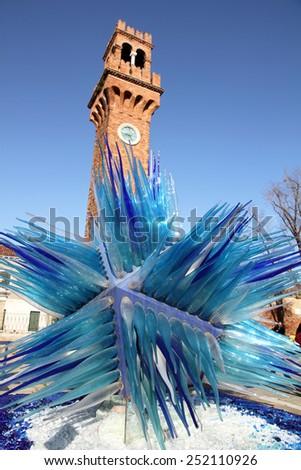 VENICE ITALY-JANUARY 26: Cityscape on Murano island on January 26, 2015 in Venice Italy. the bell tower of San Giacomo in Venice, Italy - stock photo