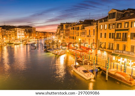 VENICE, ITALY - January 28, 2015: View of the Grand Canal from the Rialto Bridge. HDR Look