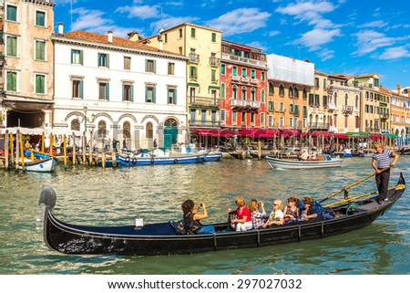 VENICE, Italy, JULY 12, 2014: Canal Grande in a summer day in Venice, Italy