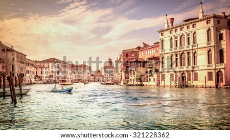 VENICE, ITALY - JUNE 29, 2015: Grand Canal with boats scenery in antique Venice, Italy - stock photo