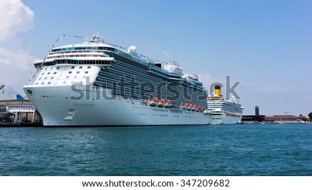 Venice, Italy - June 01, Regal Princess, Royal class cruise ship owned by Princess Cruises, port of  Venice June 01, 2014