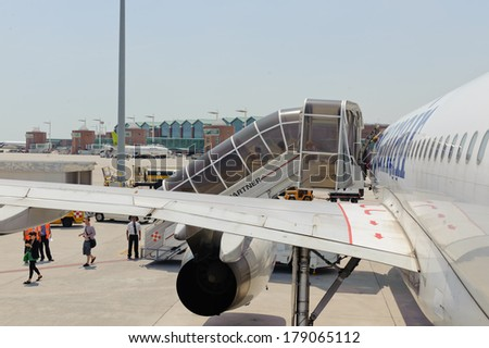 VENICE, ITALY - JUNE 12, 2011: Spanair jet airplane landed on June 12, 2011 in Venice, Italy. Spanair S.A. was a Spanish airline. The last passenger flight was JK1326 from Trondheim to Las Palmas.