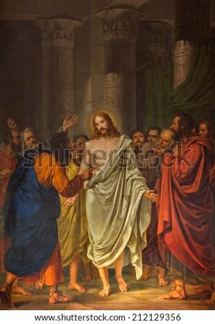 VENICE, ITALY - MARCH 13, 2014:  Christ between the Apostles by Sebastiano Santi (1828) in church Chiesa dei Santi. XII Apostoli  - stock photo