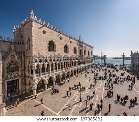 VENICE, ITALY - MARCH 8: Doge's Palace on March 8, 2014 in Venice, Italy. Formerly the residence of the Doge and now a museum, the palace is one of the main landmarks of the city.