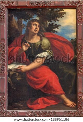 VENICE, ITALY - MARCH 13, 2014: Paint of st. John the evangelist in church Santa Maria della Salute by Antonio Triva da Reggio (1626 - 1699). - stock photo