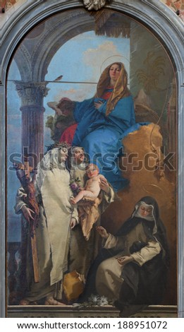 VENICE, ITALY - MARCH 11, 2014: The Appartation of the Virgin st. Rosalia of Lima, Catherine of Siena and st. Agnes by Giambattista Tiepolo (1748) in Chiesa di Santa Maria del Rosario (Gesuati).