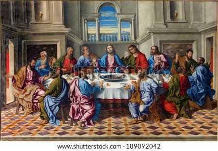 """VENICE, ITALY - MARCH 14, 2014: The Last supper of Christ """"Ultima cena"""" by Girolamo da Santacroce (1490 - 1556)  in church San Francesco della Vigna. - stock photo"""