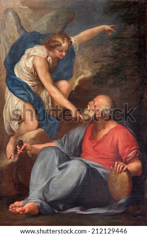 VENICE, ITALY - MARCH 13, 2014: The Prophet Elijah Receiving Bread and Water from an Angel by unknown painter in church Santa Maria della Salute.  - stock photo