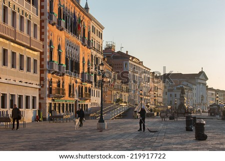 VENICE, ITALY - MARCH 12, 2014: The Waterfront in morning.