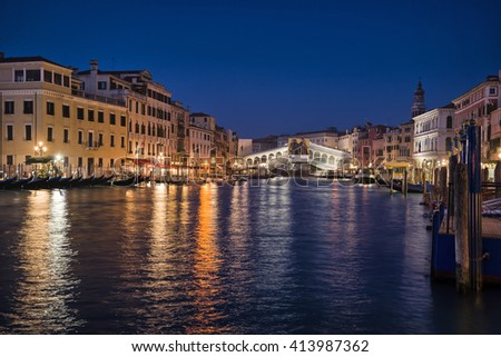 VENICE, Italy, March 18 2016: Venice by night, view on the Grand Canal