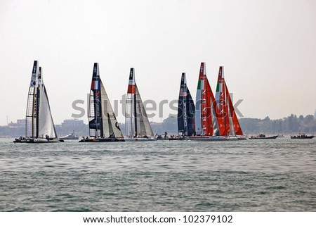 VENICE, ITALY - MAY 12- America's Cup AC World Series - Arzan�  Trofeo Citt�  di Venezia - The all teams in Venice, Italy, May 12, 2012 - stock photo