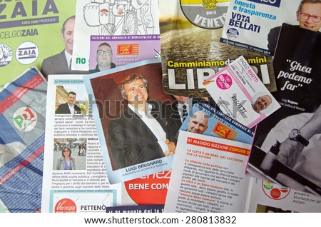 VENICE, ITALY - MAY 24, 2015: Selection of leaflets and pamphlets from various contestants for the local, regional and Mayoral elections in Venice to be chosen on May 31 2015. - stock photo