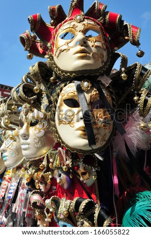 VENICE, ITALY - MAY 01 2011:Selection of Venetian carnival masks.There are records of Venetian masks being worn in the city of Venice dating back to Medieval times, in the 12th and 13th centuries.