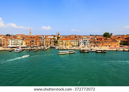 VENICE, ITALY - MAY 29-2014: View of the Grand Canal in the early morning . Grand Canal is the main thoroughfare in Venice. There are only 400 licensed Gondolas operating in Venice today.