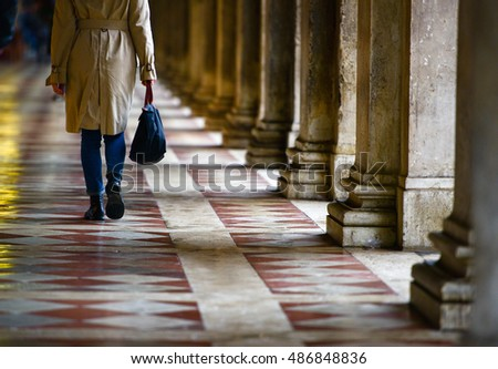 VENICE, ITALY - October 14, 2015: Person walking near St. Mark's Square in Venice, Italy.