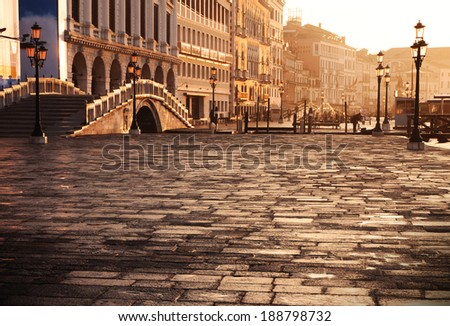 Venice, Italy: Riva degli schiavoni at sunrise - stock photo