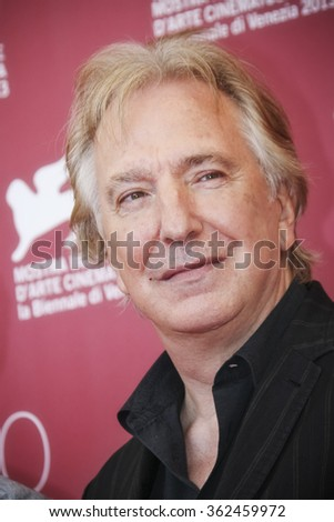 VENICE, ITALY - SEPTEMBER 04: Actor Alan Rickman attends 'Une Promesse' Photocall during the 70th Venice International Film Festival at Palazzo del Casino on September 4, 2013 in Venice, Italy. - stock photo