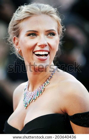 VENICE, ITALY - SEPTEMBER 03: Actress Scarlett Johansson attends 'Under The Skin' Premiere during the 70th Venice Film Festival on September 3, 2013 in Venice, Italy.  - stock photo