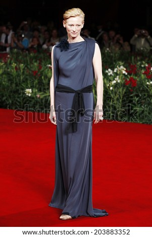 VENICE, ITALY - SEPTEMBER 08: Actress Tilda Swinton  attends the 'Venus Noire' Premiere during the 67th Venice Film Festival on September 8, 2010 in Venice, Italy.  - stock photo
