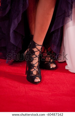 """VENICE, ITALY - SEPTEMBER 6: actress Valeria Solarino on red carpet for movie premiere of """"VALLANZASCA"""" by Michele Placido at 67th Venice Film Festival September 5, 2010 in Venice, Italy. - stock photo"""