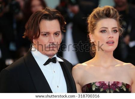 VENICE, ITALY - SEPTEMBER 05: Amber Heard and Johnny Depp during the 72th Venice Film Festival 2015 in Venice, Italy - stock photo