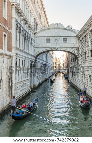 Venice Italy September 2017, canal of venice on a bright summer day