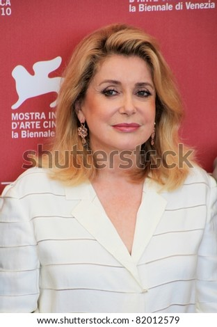 VENICE, ITALY - SEPTEMBER 04: Catherine Deneuve poses for photographers at 67th Venice Film Festival September 04, 2010 in Venice, Italy.