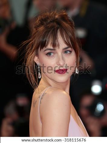 VENICE, ITALY - SEPTEMBER 04: Dakota Johnson during the 72th Venice Film Festival 2015 in Venice, Italy - stock photo